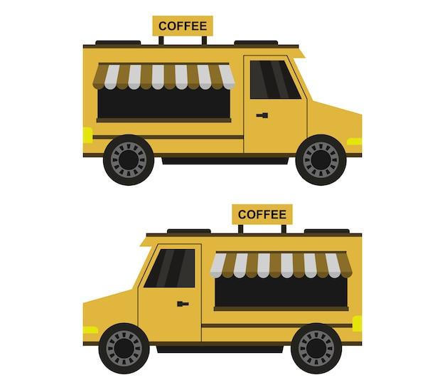 Ciężarówka z kawą na białym tle