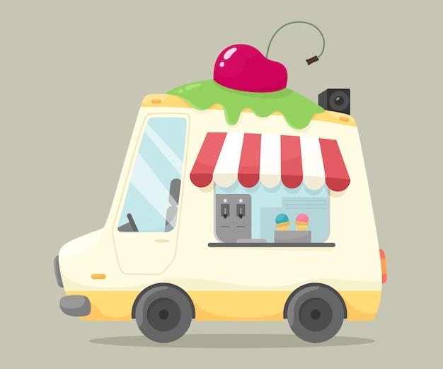 Ciężarówka z lodami. ilustracja w stylu płaskiej kreskówki. sprzedaż lodów na ulicy. słodycze.