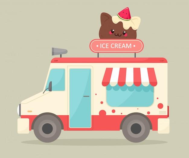 Ciężarówka z lodami. ilustracja w stylu płaskiej kreskówki. sprzedaż lodów na ulicy. styl kreskówki.