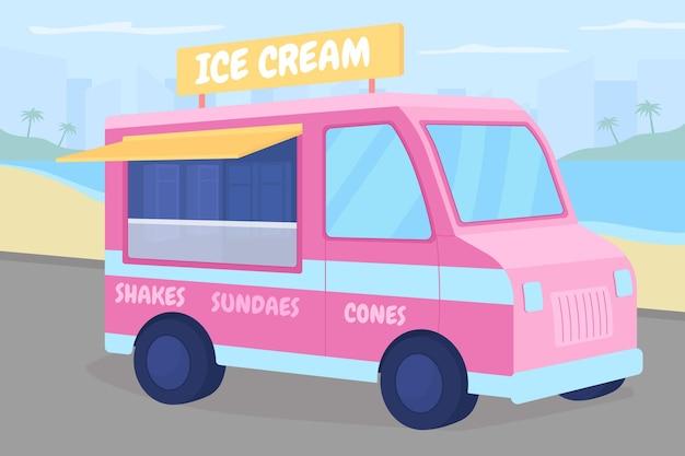Ciężarówka z lodami na plaży płaski kolor ilustracji
