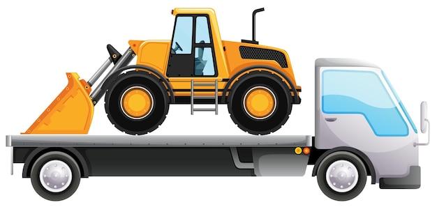 Ciężarówka z platformą i spychacz na białym tle