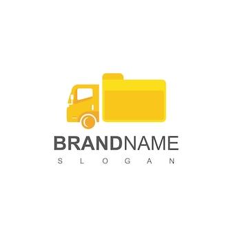 Ciężarówka z projektem logo dokumentu dla firmy zajmującej się ekspedycją dokumentów