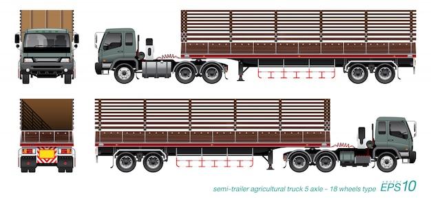 Ciężarówka z przyczepą rolniczą