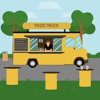 Ciężarówka z żywnością. płaska ilustracja wektorowa
