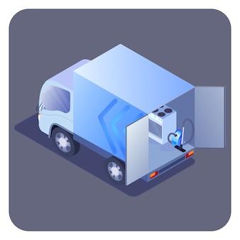 Ciężarówka załadowana izometryczną ilustracją produktów