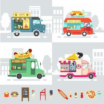 Ciężarówka żywności płaska konstrukcja nowoczesnej ilustracji wektorowych