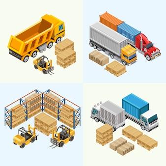 Ciężarówki i wózki widłowe w pobliżu ładunku