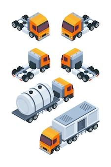 Ciężarówki izometryczne. zdjęcia różnych ładunków i transportu ładunków