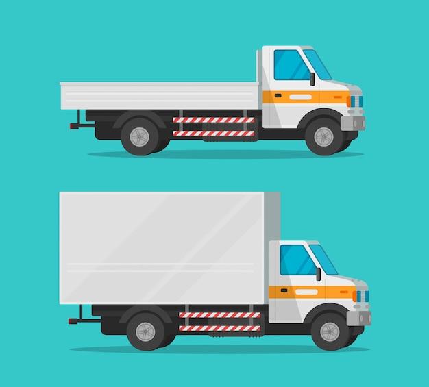 Ciężarówki lub ciężarówki i samochody dostawcze lub zestaw pojazdów, transport towarowy z kreskówek, małe półciężarówki kurierskie i furgonetki do wysyłki clipart