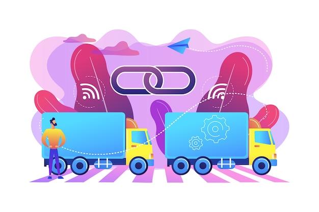 Ciężarówki połączone w pluton z ilustracją technologii łączności