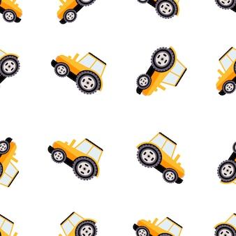 Ciężarówki robocze wzór. płaska ilustracja