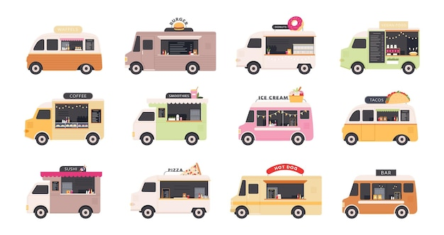 Ciężarówki z jedzeniem. samochody dostawcze sprzedające uliczne fast foody, pizzę, burgery, kawę, pączki i lody. restauracja na kołach festiwalu płaski wektor zestaw. ilustracja ciężarówka furgonetka, ulica z jedzeniem