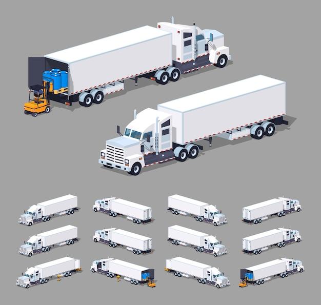 Ciężka biała izometryczna ciężarówka 3d z niską przyczepą z przyczepą