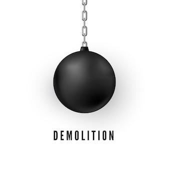 Ciężka czarna kula do niszczenia budynków. realistyczna kula do rozbiórki. ilustracja na białym tle