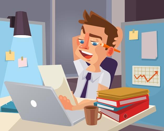 Ciężka praca. charakter zmęczony pracownik biurowy. ilustracja kreskówka płaska