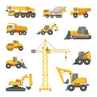 Ciężkie maszyny budowlane. koparka, spychacz i inna technika.