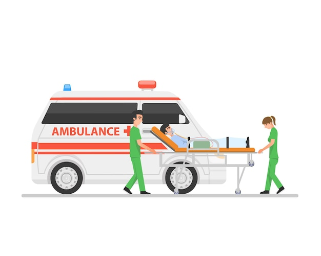Ciężko chory pacjent noszony przez dwóch pracowników służby zdrowia na noszach