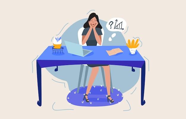 Ciężko pracująca, biurowa kobieta jest w stresującej sytuacji, siedzi za biurkiem i próbuje rozwiązać problemy. miara terminu, podejmowanie trudnych decyzji.