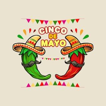 Cinco de mayo cartoon meksykańska zielona czerwona ostra papryka chili