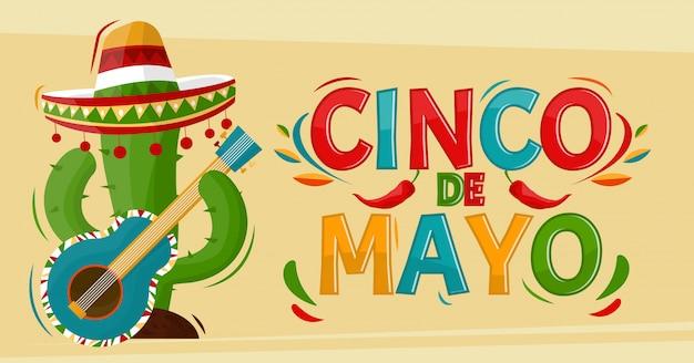 Cinco de mayo. kaktusowa gra na gitarze