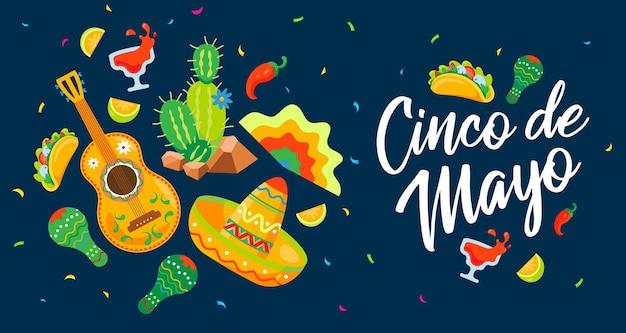 Cinco de mayo meksykański plakat celebracji w płaskiej ilustracji wektorowych
