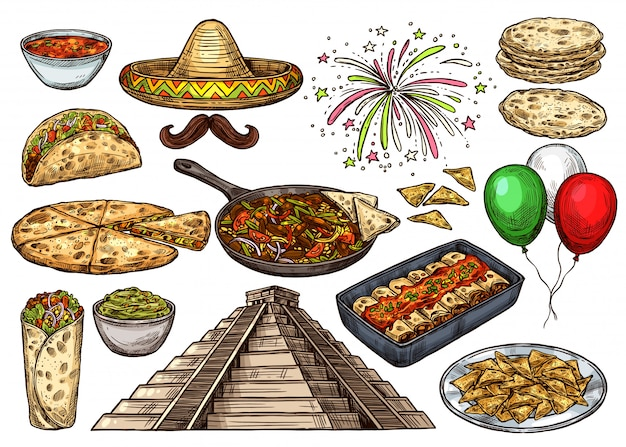 Cinco de mayo meksykańskie wakacje szkic żywności