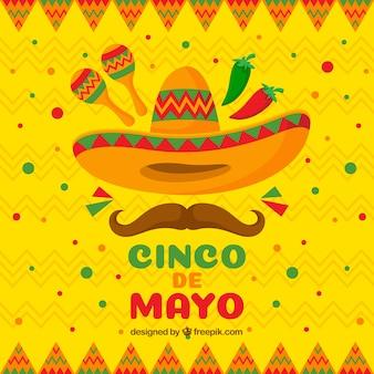 Cinco de mayo tło w stylu płaski