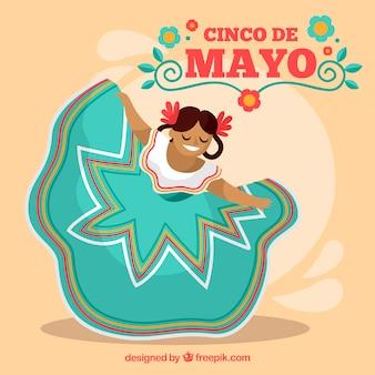 Cinco de mayo tło z kobieta taniec