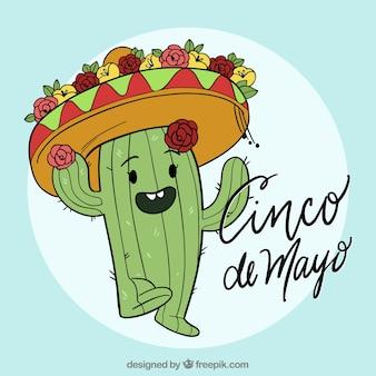 Cinco de mayo tło z ślicznym kaktusem
