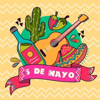 Cinco de mayo z gitarą i kapeluszem
