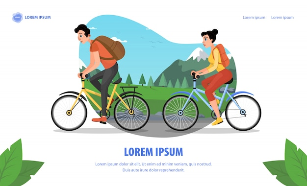 Cinema actor family bike trip cartoon landing page
