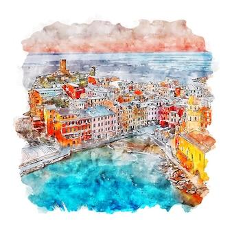 Cinque terre włochy szkic akwarela ręcznie rysowane ilustracji
