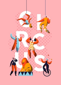 Circus carnival clown character typografia banner.