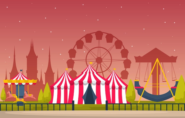 Circus carousel amusement park happy holiday illustration