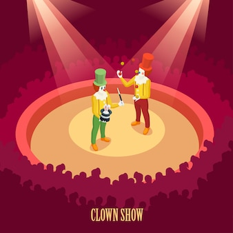 Circus clowns pokaż plakat izometryczny