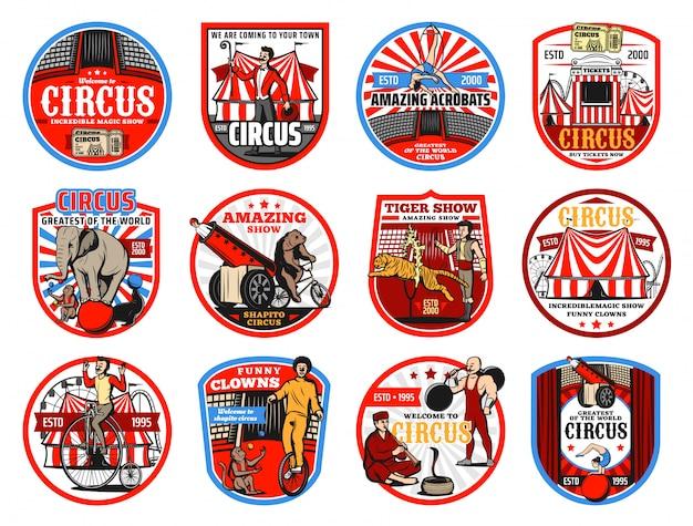 Circus shapito ikony retro, rozrywka