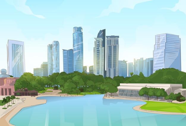City center park pond drzewa skyscraper zobacz cityscape