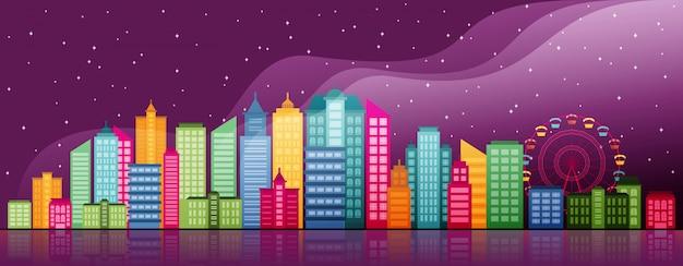 City life concept cityscape landmark poziome ilustracji