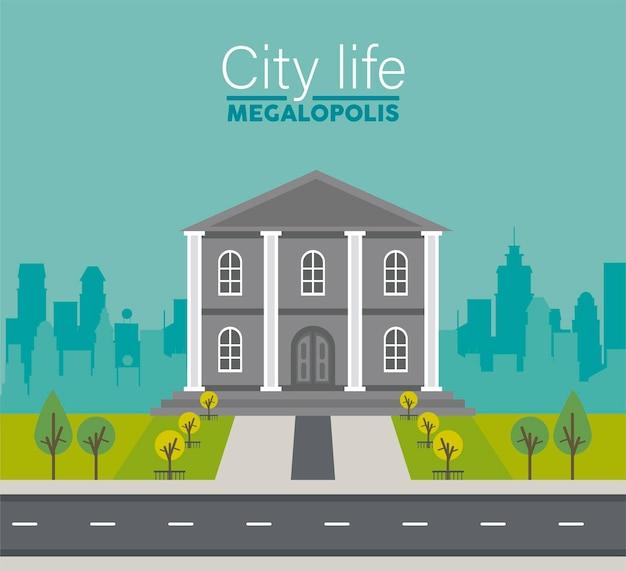 City life megalopolis napis na scenie pejzażu z ilustracją budynku rządowego