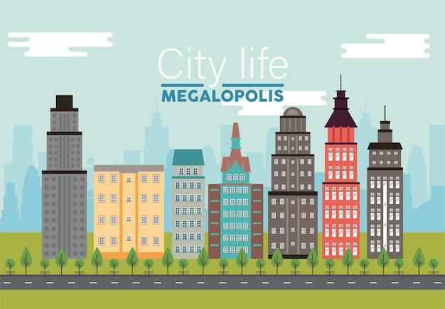 City life megalopolis napis w scenie pejzaż z ilustracją drapaczy chmur