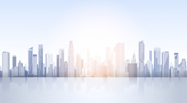 City skyscraper zobacz cityscape kontekst skyline silhouette z copy space