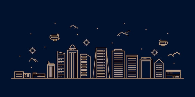 Cityscape nowoczesna płaska linia krajobraz wektor