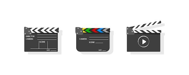 Clapboard robi film z tekstem. clapperboard zestawu filmowego do produkcji kinowej. klaśnięcie płyty, aby rozpocząć scenę klipu wideo. kamera światła, akcja! czarno-biała ikona na różowym tle. ilustracja.