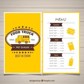 Classic menu ciężarówek żywności z rocznika stylu