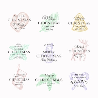 Classy wesołych świąt i szczęśliwego nowego roku streszczenie etykiety lub zestaw szablonów logo.