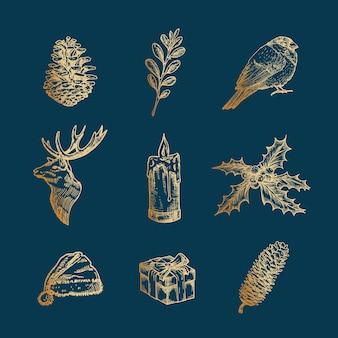 Classy wesołych świąt i szczęśliwego nowego roku streszczenie znaki, etykiety lub zestaw ikon.