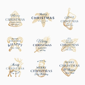 Classy wesołych świąt i szczęśliwego nowego roku streszczenie znaki, etykiety lub zestaw szablonów logo.