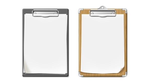 Clip board z drewnianym i plastikowym zestawem biurkowym