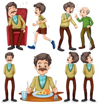 Clip żywności kreskówek starszy człowiek