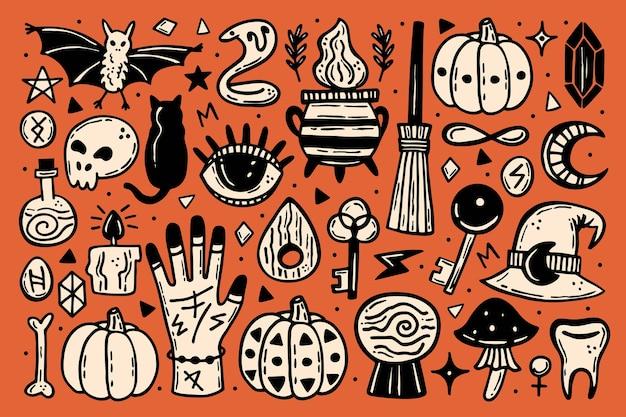 Clipart halloween, zestaw elementów. wakacyjne sylwetki atramentu.